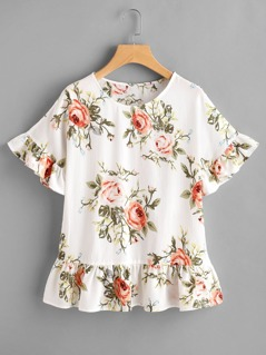 Flower Print Frill Trim Top