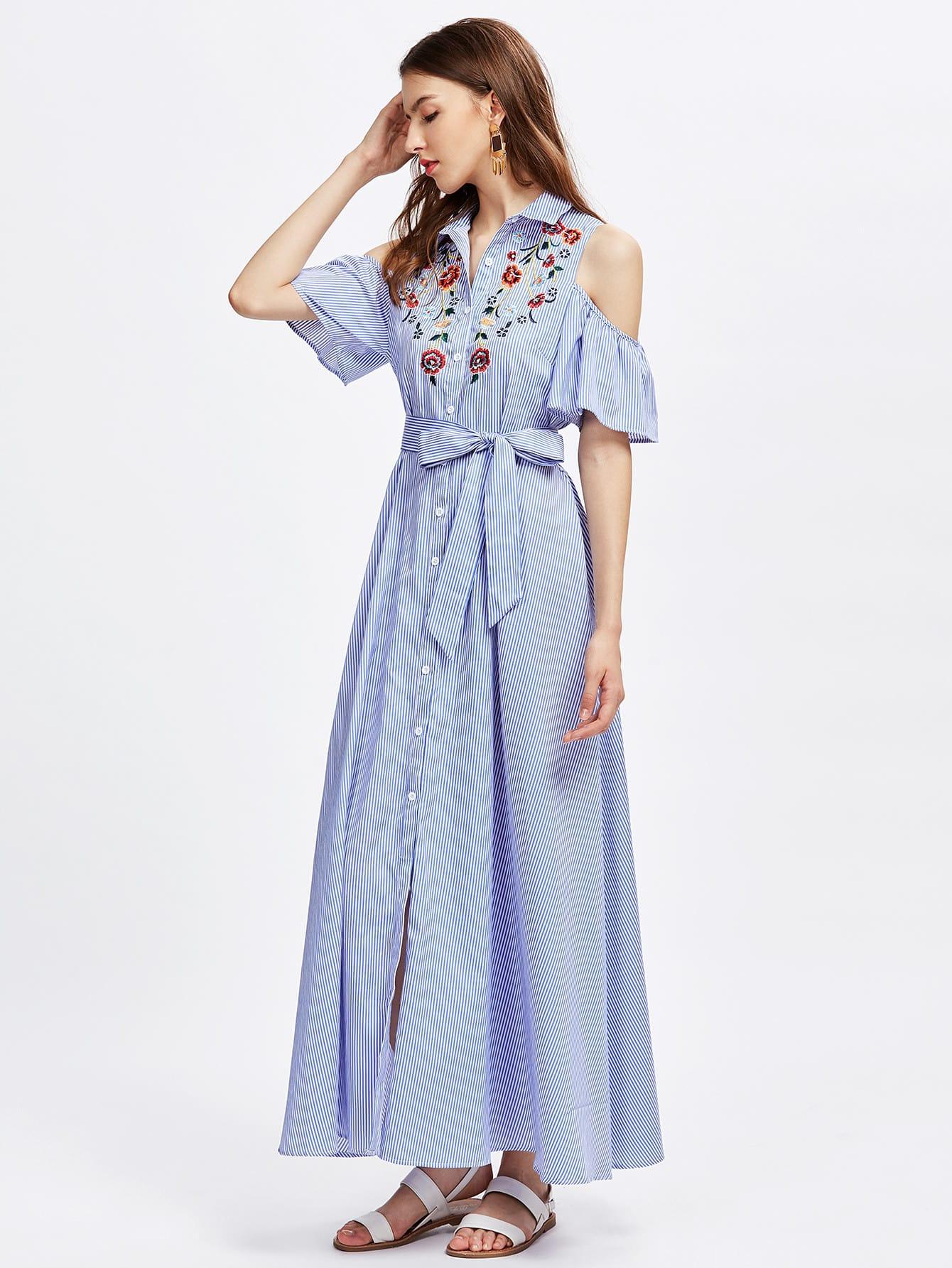 Фото Open Shoulder Bell Sleeve Flower Embroidered Shirt Dress. Купить с доставкой