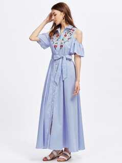 Open Shoulder Bell Sleeve Flower Embroidered Shirt Dress