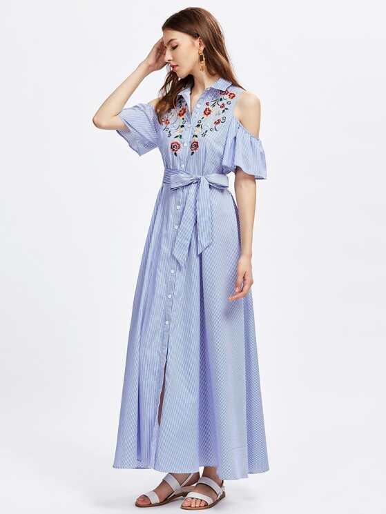 80e0bd1a22fe Open Shoulder Bell Sleeve Flower Embroidered Shirt Dress ...