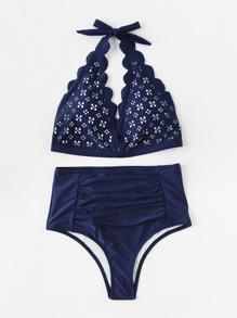 Laser Cut Ruched High Waist Bikini Set
