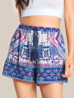 Tribal Print Tassel Tie Shorts BLUE