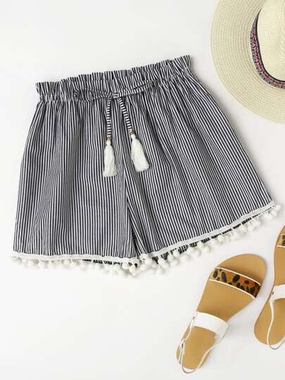Vertical Striped Drawstring Waist Pompom Hem Shorts