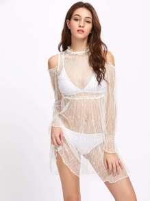 Open Shoulder Sheer Lace Dress