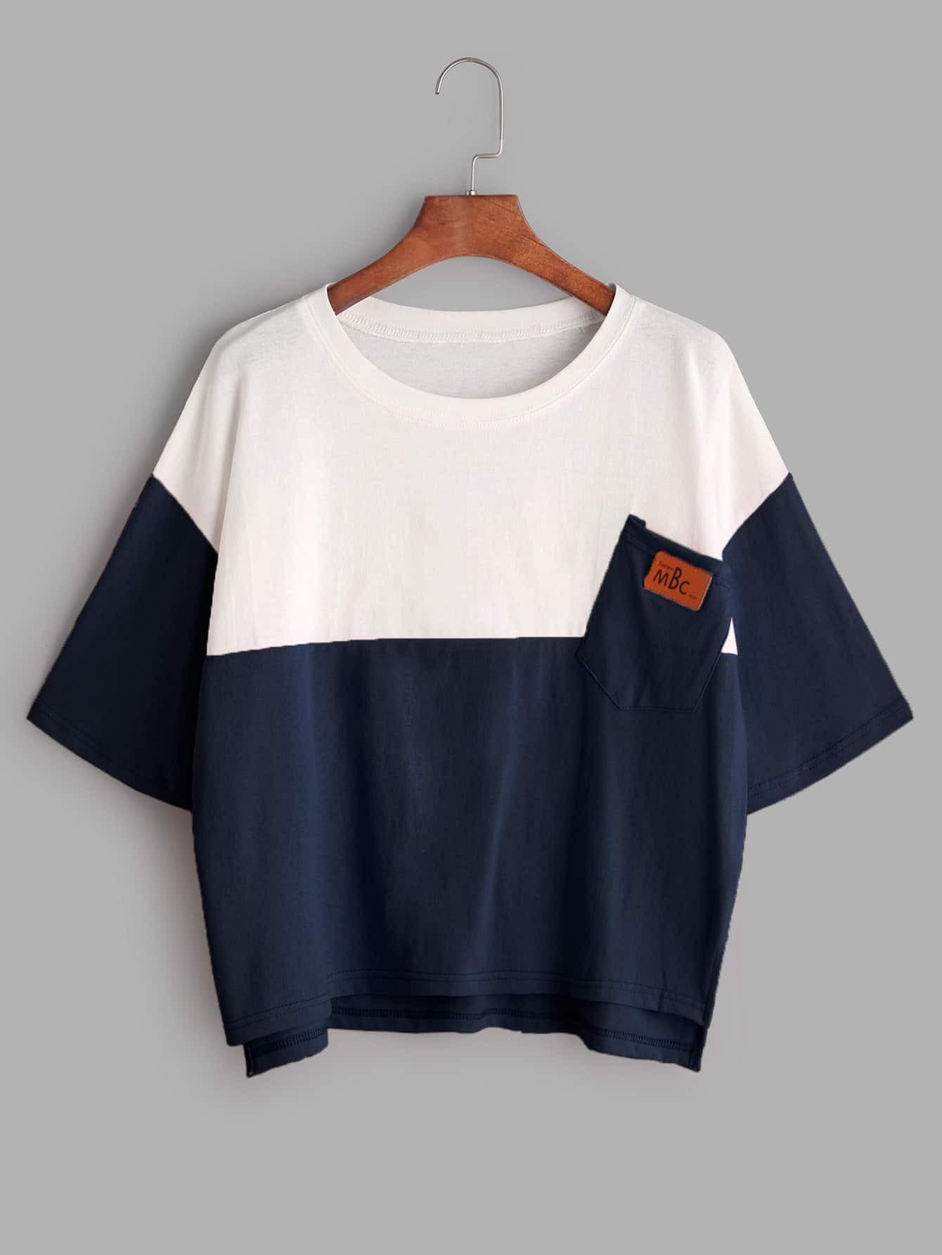 Фото Color Block Dip Hem T-shirt With Chest Pocket. Купить с доставкой