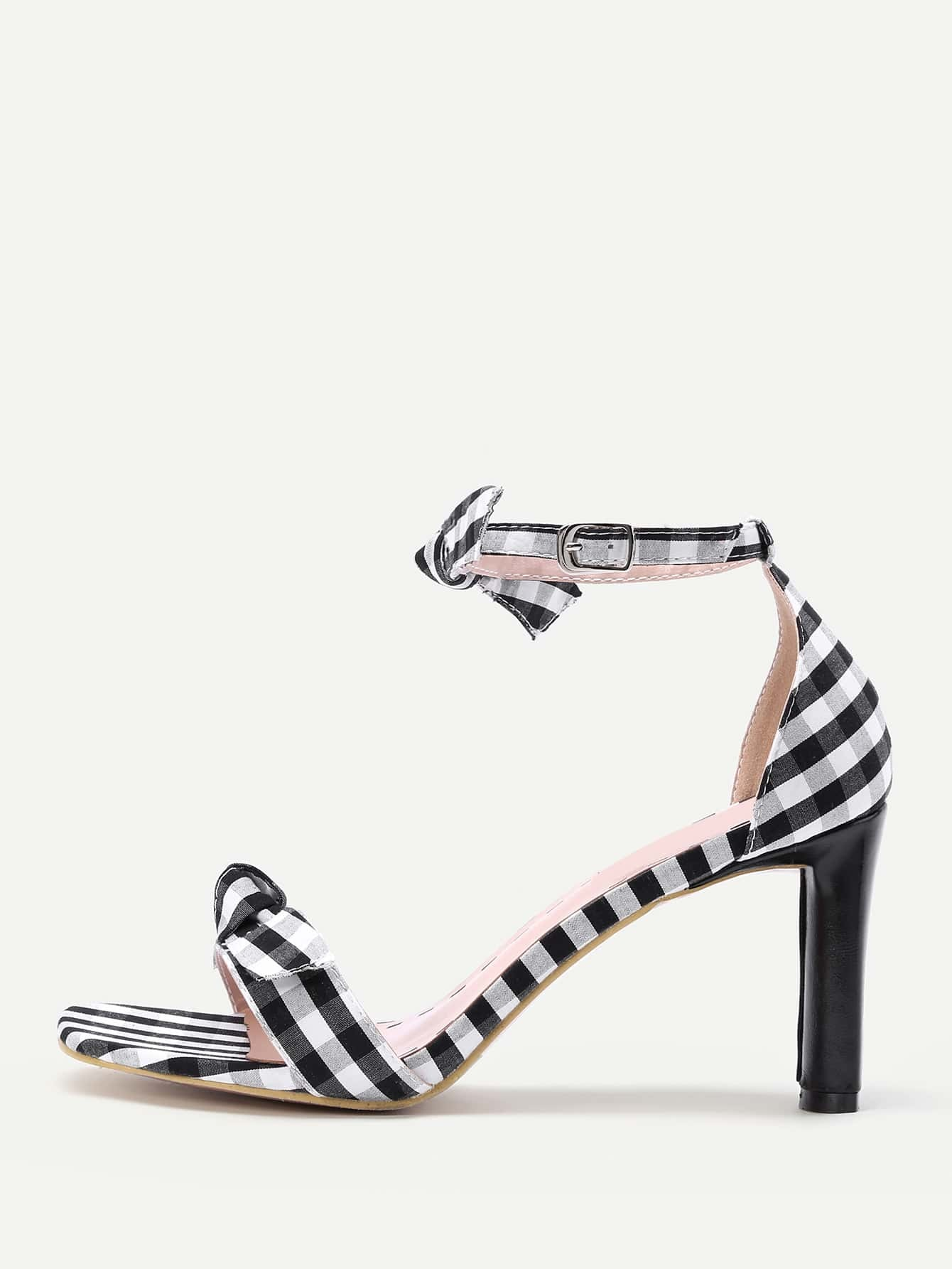 Bow Tie Check Print Heeled Sandals shoes170626810