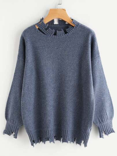 Drop Shoulder Lantern Sleeve Raw Cut Jumper