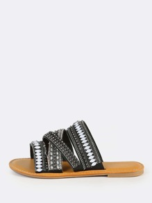 Bejeweled Slip On Sandals BLACK