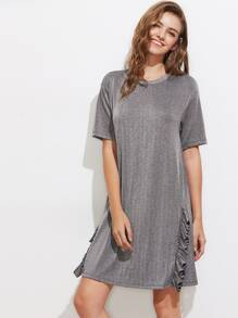 Drop Shoulder Frill Trim Glitter Tee Dress