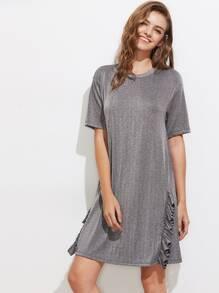 Drop Shoulder Frill Trim Glitter Tee Dress