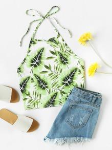 Jungle Leaf Print Self Tie Halter Top