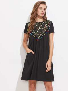 Pom Pom Trim Embroidered Mesh Yoke Dress