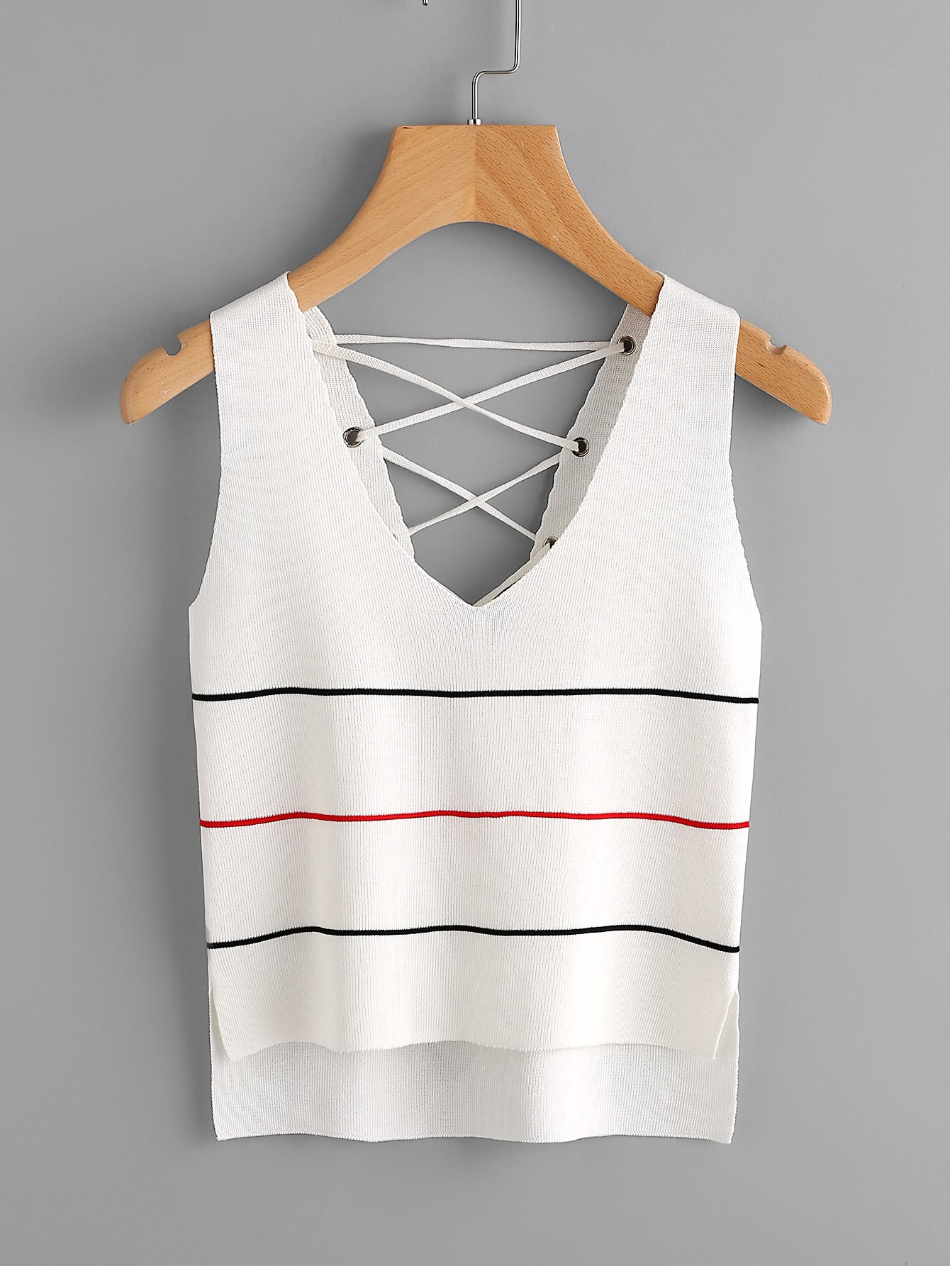 Double V Grommet Lace Up Back Jersey Tank Top