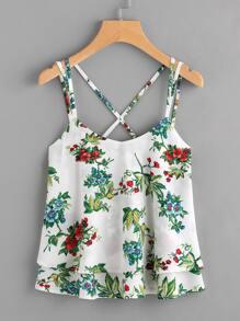 Camisola floral al azar y espalda cruzada
