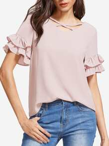 Pink Crisscross V Neck Layered Ruffle Sleeve Top