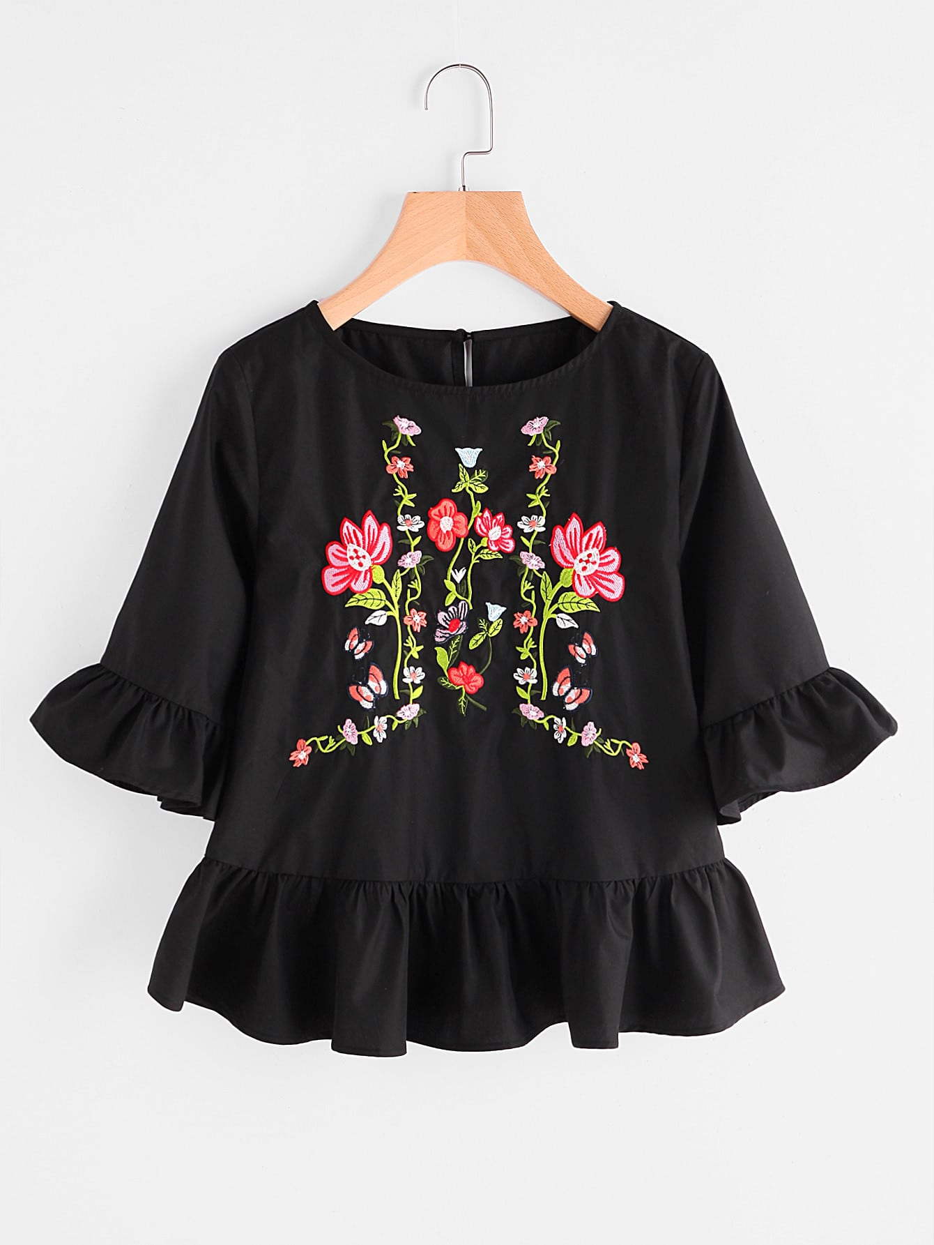 Buttoned Keyhole Back Flower Embroidered Ruffle Top buttoned keyhole back 2 in 1 embroidered mesh top