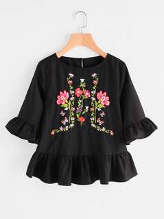 Buttoned Keyhole Back Flower Embroidered Ruffle Top