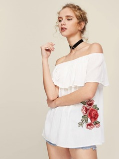 Embroidered Flower Applique Frill Bardot Top