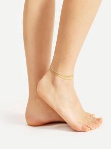 Rhinestone & Beaded Embellished Chain Anklet