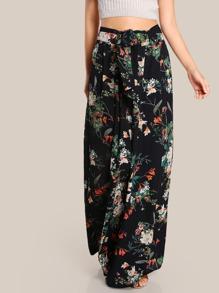 Floral Print High Rise Pants BLACK