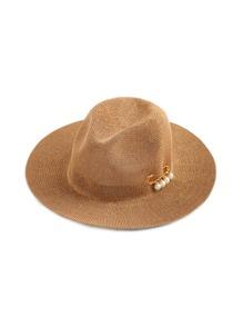 Sombrero playero con adorno de perla de imitación