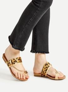 Sandales à fond plat à motif de léopard