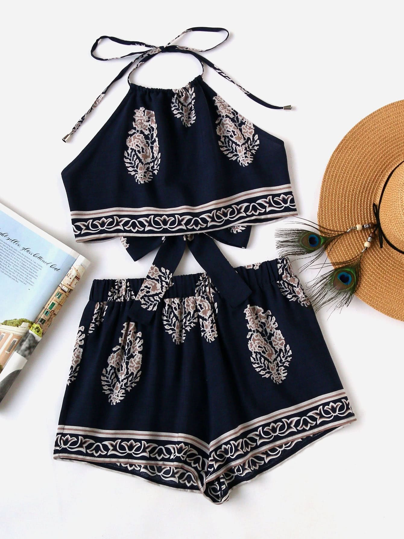 Tie Back Halter Top And Shorts Co-Ord jungle print crop tank top and pleated shorts co ord