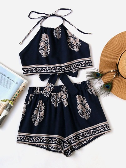 Tie Back Halter Top And Shorts Co-Ord