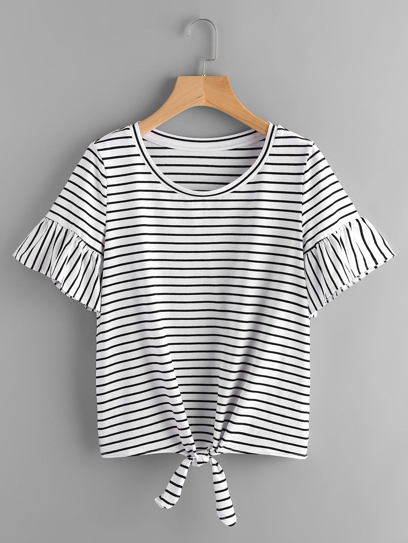 Trumpet Sleeve Knot Front Striped Tee knot front tee