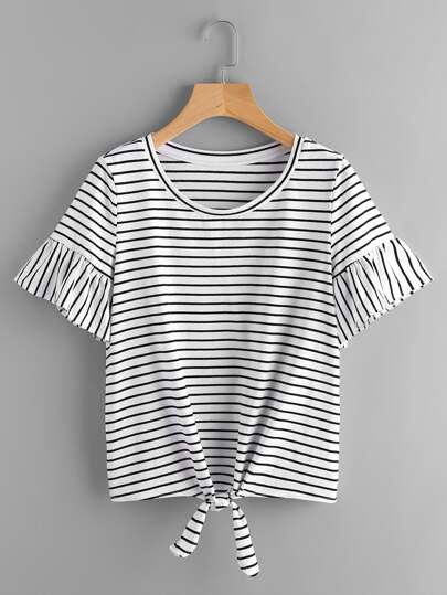 Trumpet Sleeve Knot Front Striped Tee