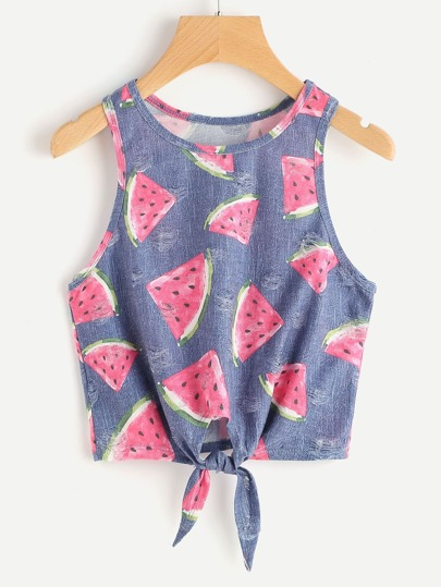 Watermelon Print Knot Front Tank Top