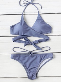Halter Wrap Bikini Set