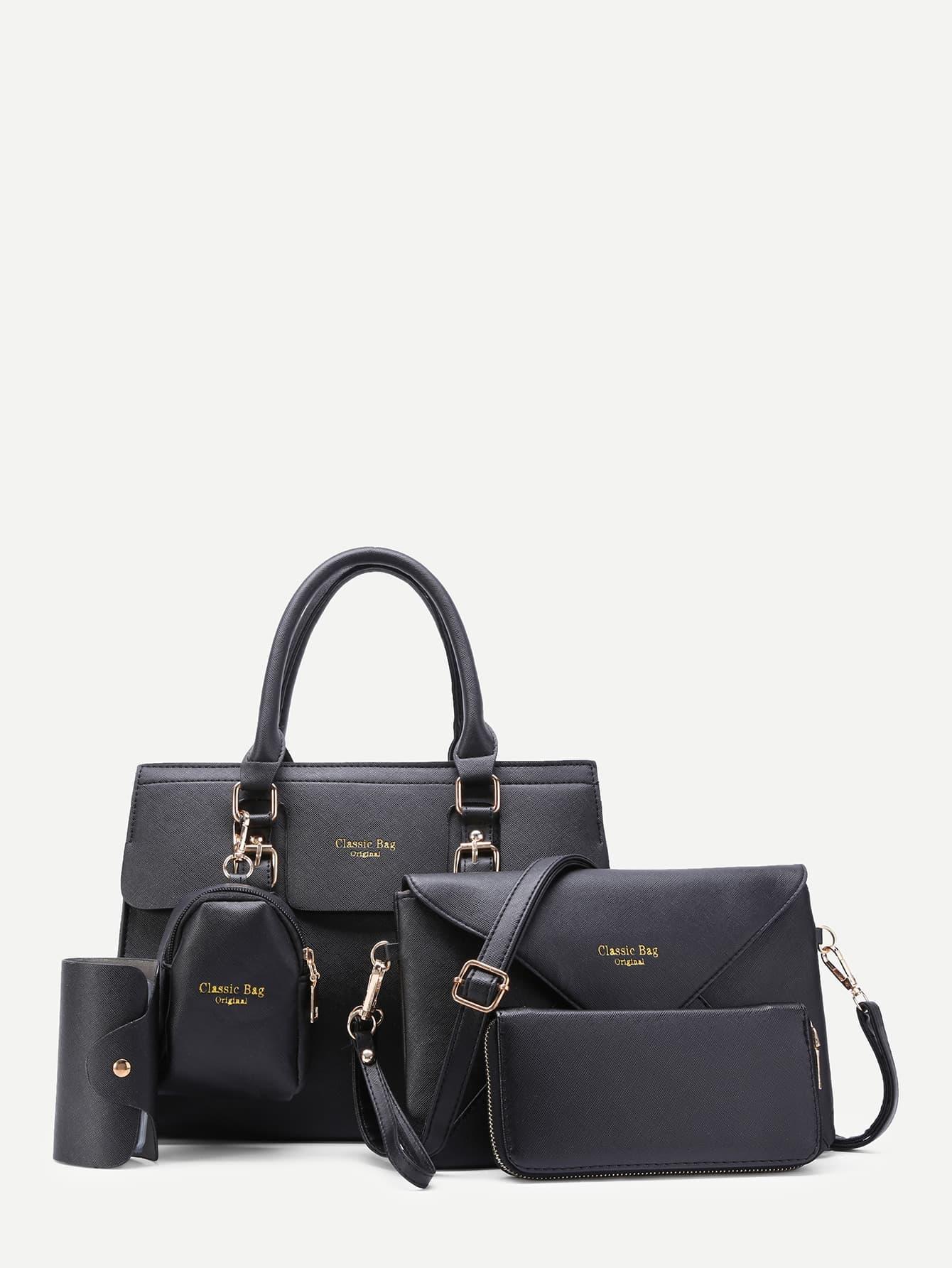 Фото 5pcs Faux Textured Leather Bag Set. Купить с доставкой