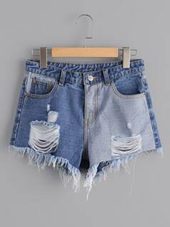 Distressed Contrast Denim Shorts