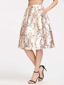 Champagne Blossom Print Box Pleated Volume Skirt