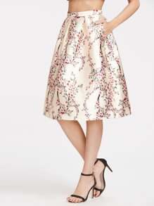 Calico Print Zipper Box Pleated Tulip Skirt
