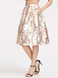 Champagne Blossom Print Box Pleated Volume Skirt