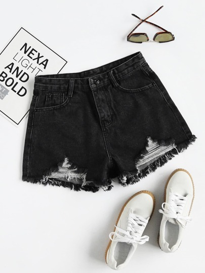 Shorts rétro lacéré en denim