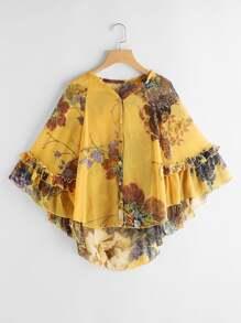 Flounce Trim Florals High Low Kaftan Kimono