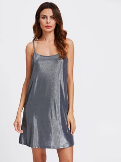 Metallic Glitter Slip Dress