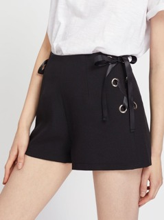 Zip Back Grommet Lace Up Tailored Shorts