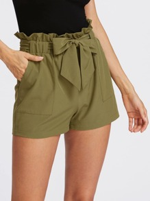 Self Tie Ruffle Waist Shorts