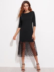 Contrast Sheer Polka Dot Mesh Dress
