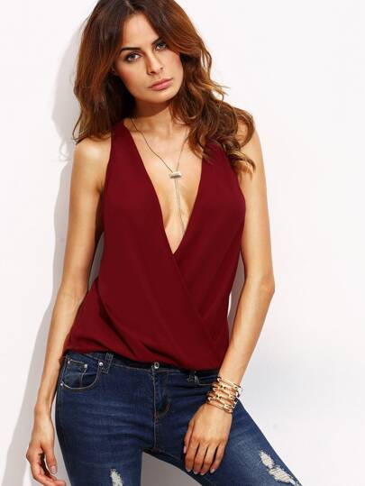 Plunging V-neckline Cut Out Back Wrap Blouse