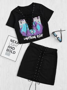Tee-shirt col en V en dentelle &Jupe