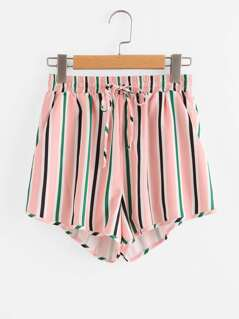 Pocket Side Drawstring Waist Striped Shorts