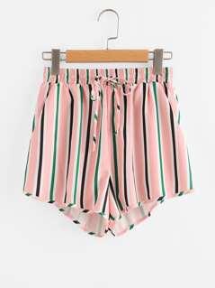 Pocket Side Drawstring Waist Striped Shorts
