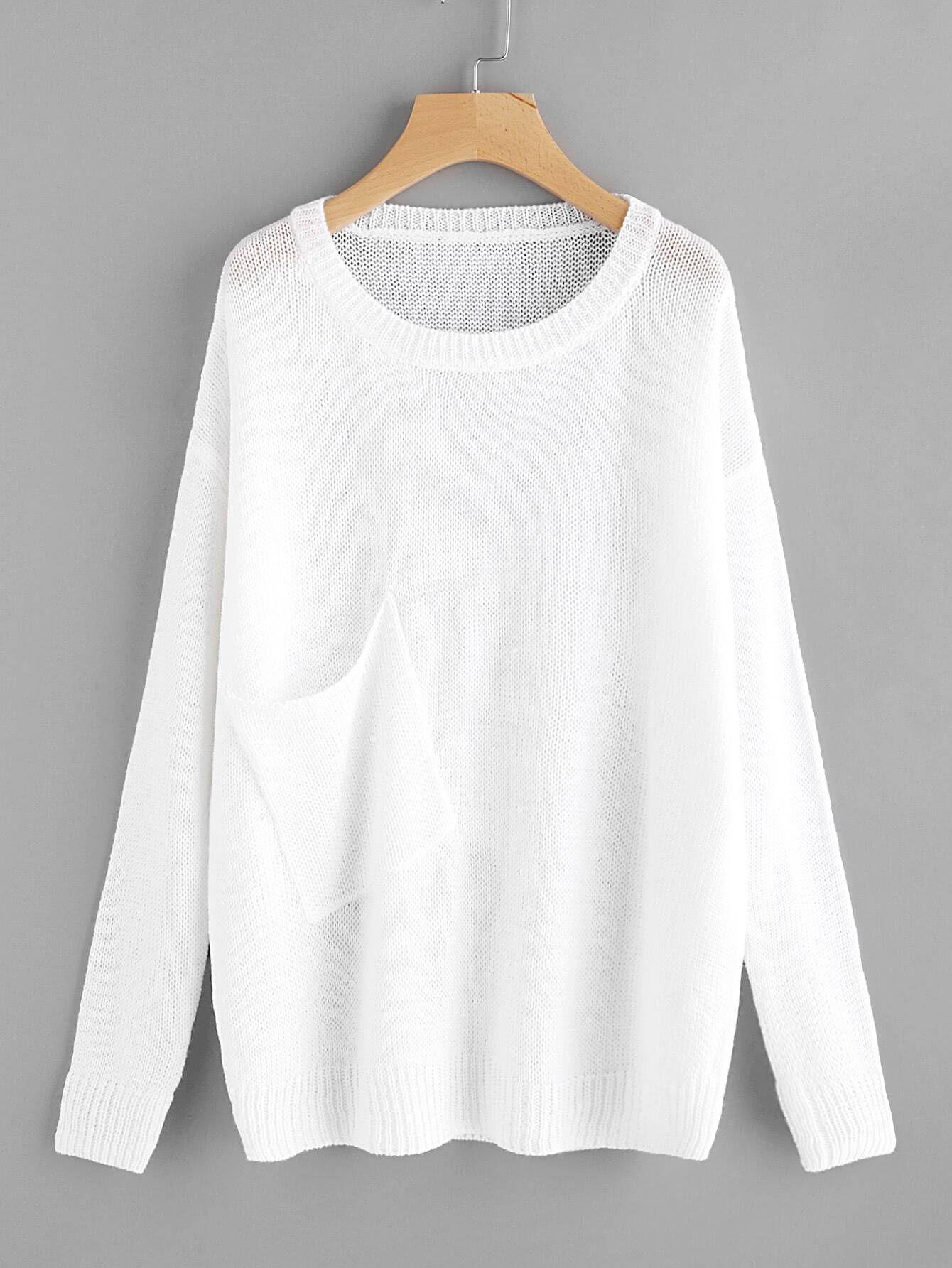 Image of Asymmetric Patch Pocket Detail Loose Knit Jumper