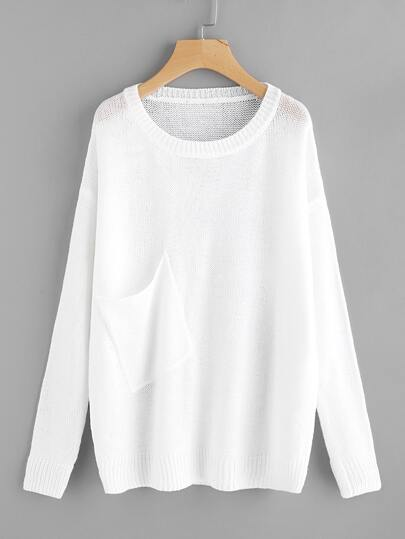 Asymmetric Patch Pocket Detail Loose Knit Jumper