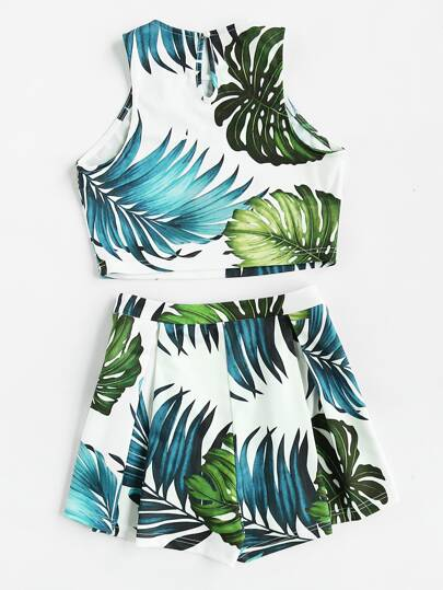 Jungle Print Crop Tank Top And Pleated Shorts Co-Ord